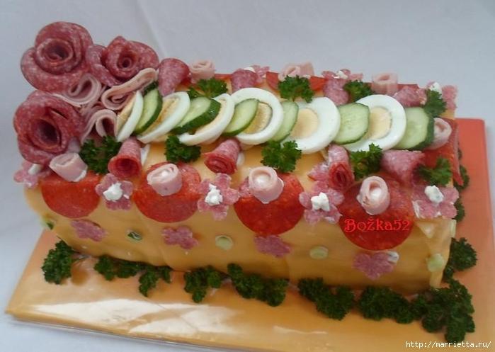 Соленый закусочный торт. Идеи оформления к ПАСХЕ (52) (700x497, 217Kb)