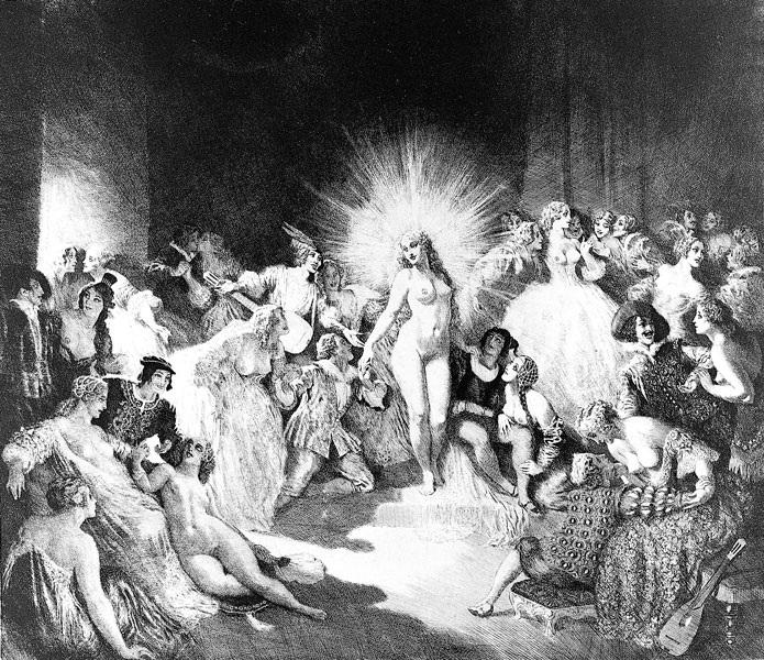 Прелестные нимфы, козлоногие обольстители и демоны в картинах Нормана Линдсея 42