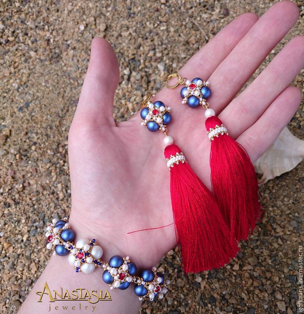 Создаем браслет и серьги-кисти в морском стиле «Пора в круиз»