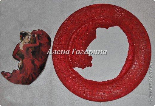 Декор предметов Мастер-класс Декупаж Тарелка Фламенко Бумага фото 5