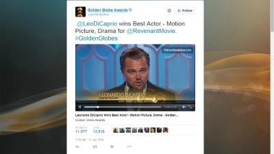 Ди Каприо получил «Золотой глобус» за роль в «Выжившем»