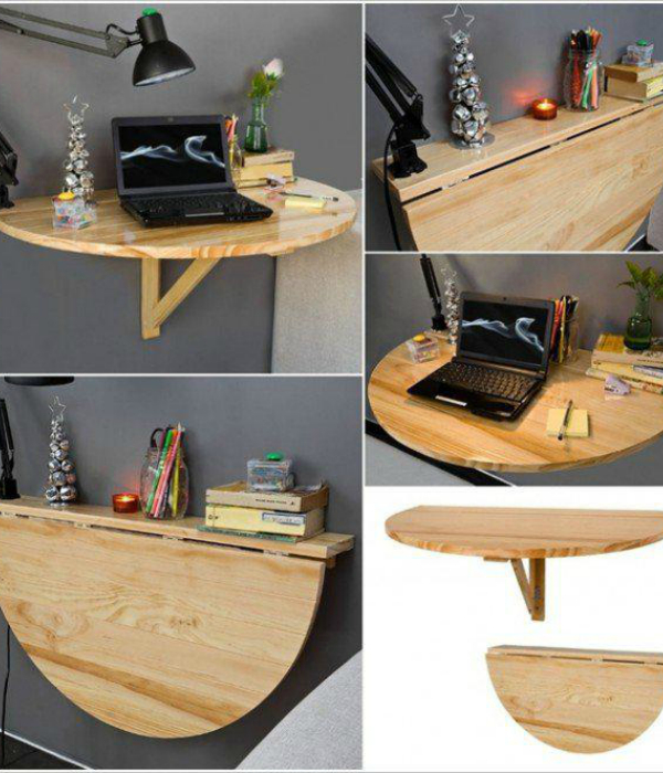 Компьютерный стол, который трансформируется в полочку.
