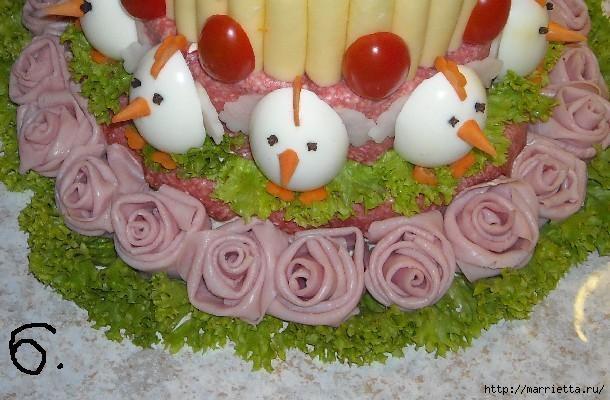 Соленый закусочный торт. Идеи оформления к ПАСХЕ (5) (610x400, 147Kb)
