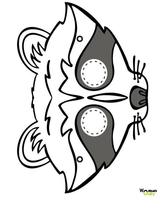 Новогодние маски из бумаги - праздник уже с вами маска енота
