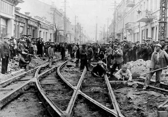Симферополь, работы на улице Пушкинской. 1939 год