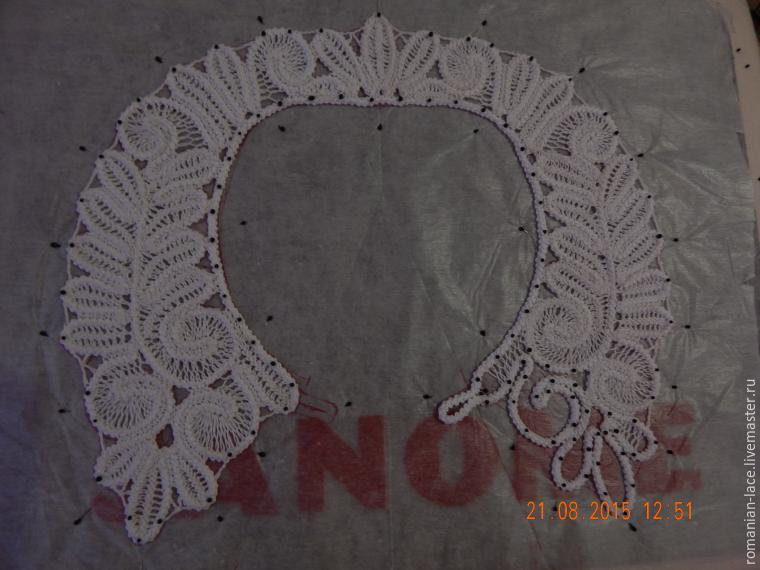 Изготовление съемного воротника в технике румынское кружево