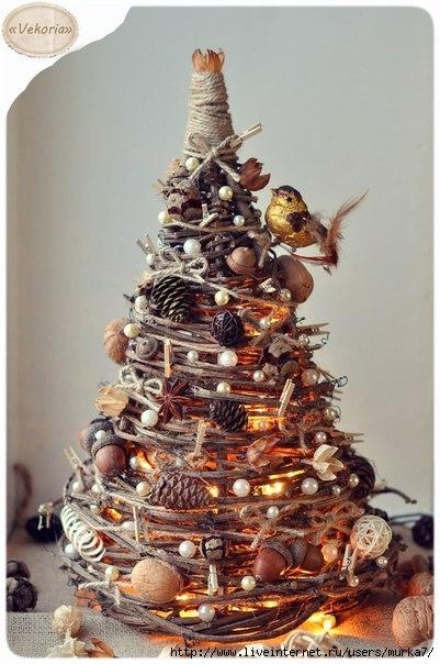 Новогодняя елка из веточек своими руками