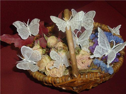 Бабочки в технике пергамано