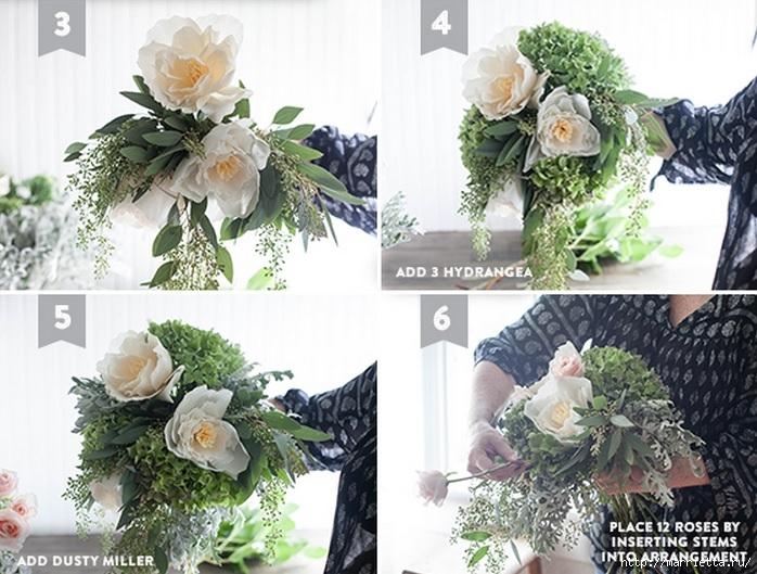Свадебный букет из свежих листьев и цветов из гофрированной бумаги (2) (698x529, 258Kb)