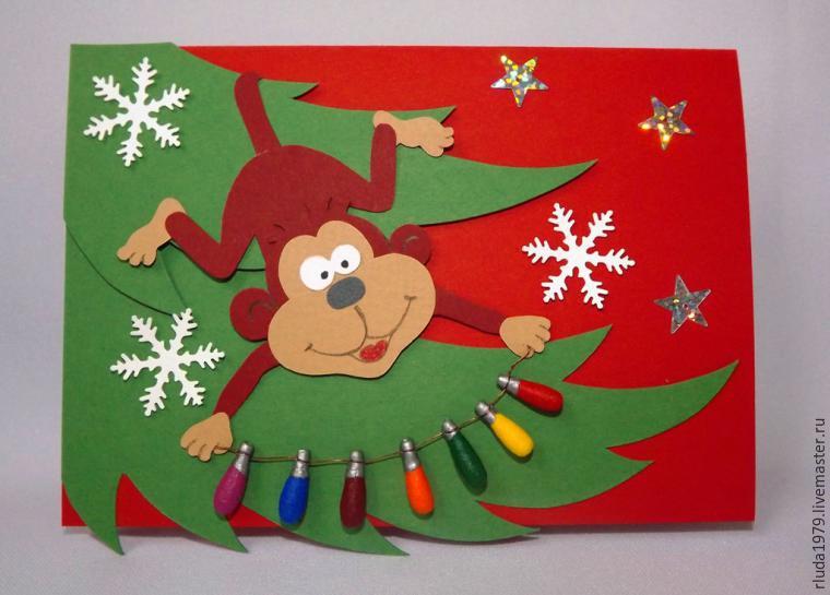 Новогодняя открытка с обезьянкой своими руками