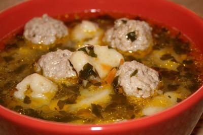 Суп с фрикадельками и галушками