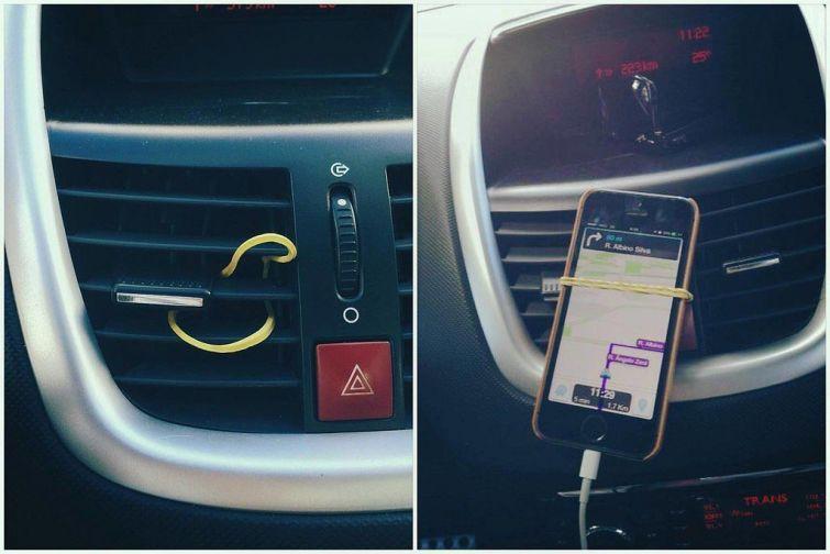 Если у вас нет держателя, то просто закрепите свой телефон при помощи канцелярской резинки авто, интересно, полезные вещи