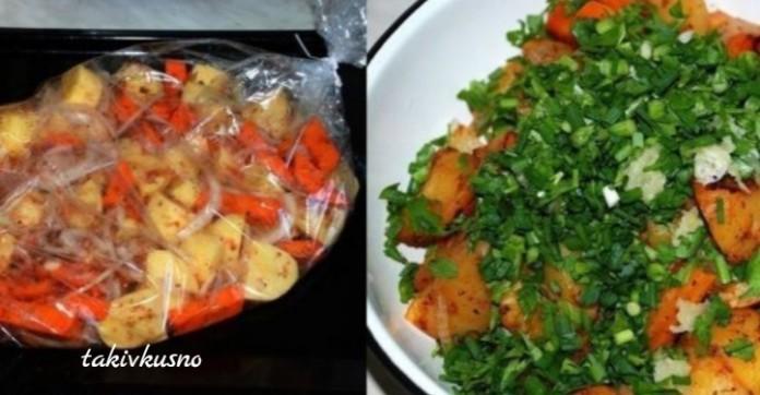 Простое и очень вкусное блюдо! Ароматная картошка в рукаве