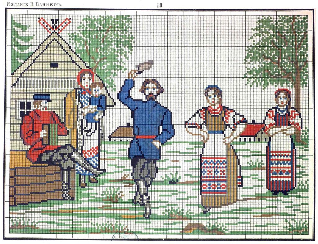 Схемы для вышивки крестом русские мотивы