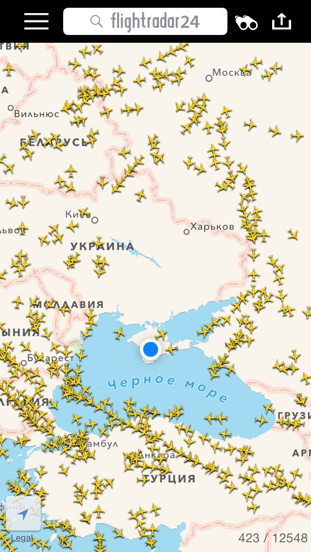 Авиатрафик над Украиной
