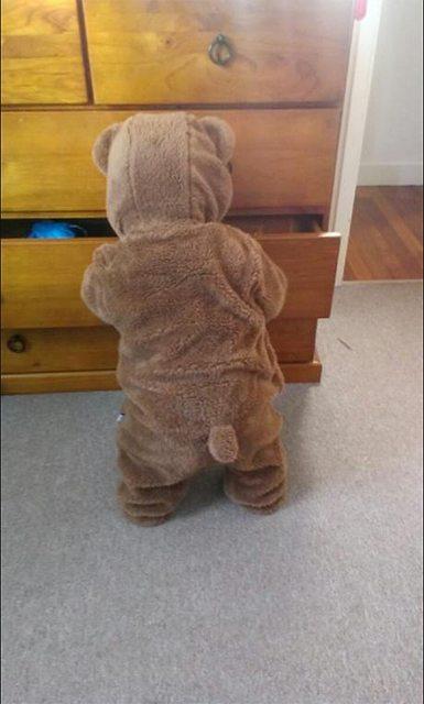 Рано утром... медведь, пижама, ребенок