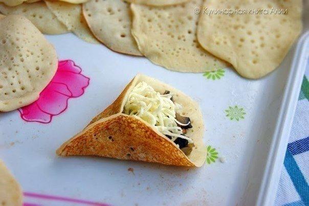 Оригинальные блинчики с грибами и сыром!