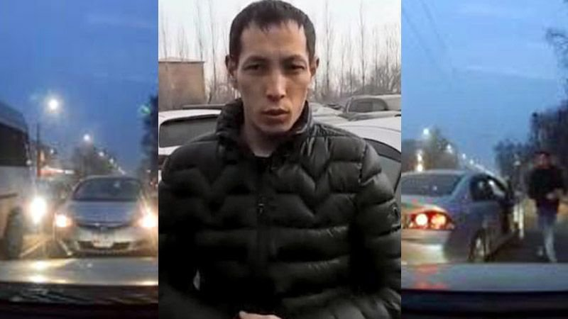 """В Бишкеке хам пытался проехать по """"встречной"""", а затем обматерил водителя, который его не пропустил"""