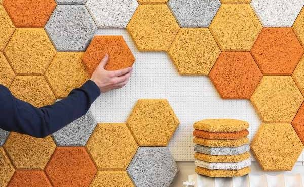 Sound-absorbing hexagonal wall tiles