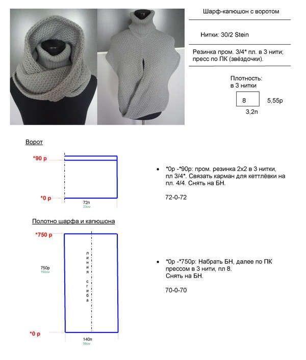 Крючком шарф капюшон схема вязания 58