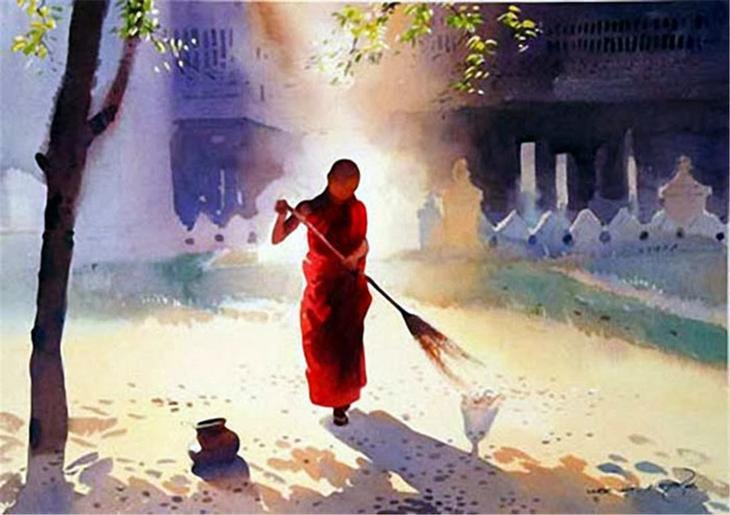 Акварельные картины художник Мьё Вин Онг 4