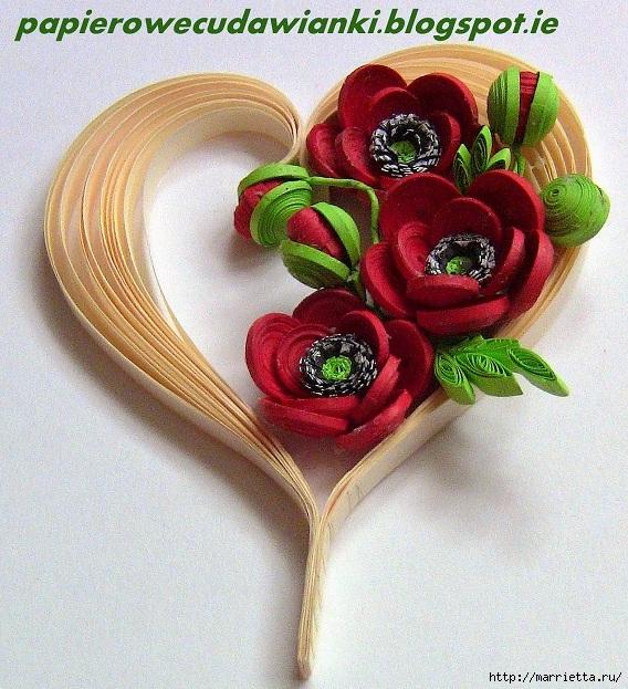Валентинка с маками в технике квиллинг