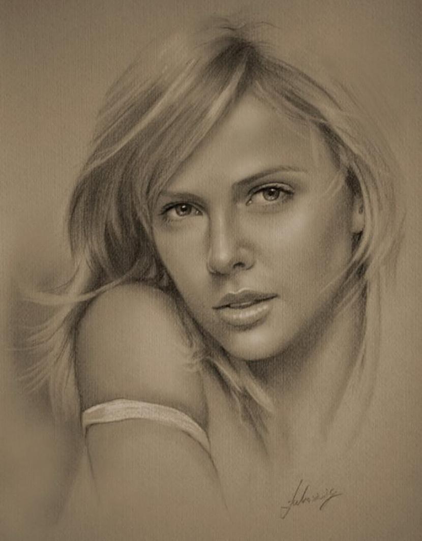 Нарисованные карандашом мир женщины