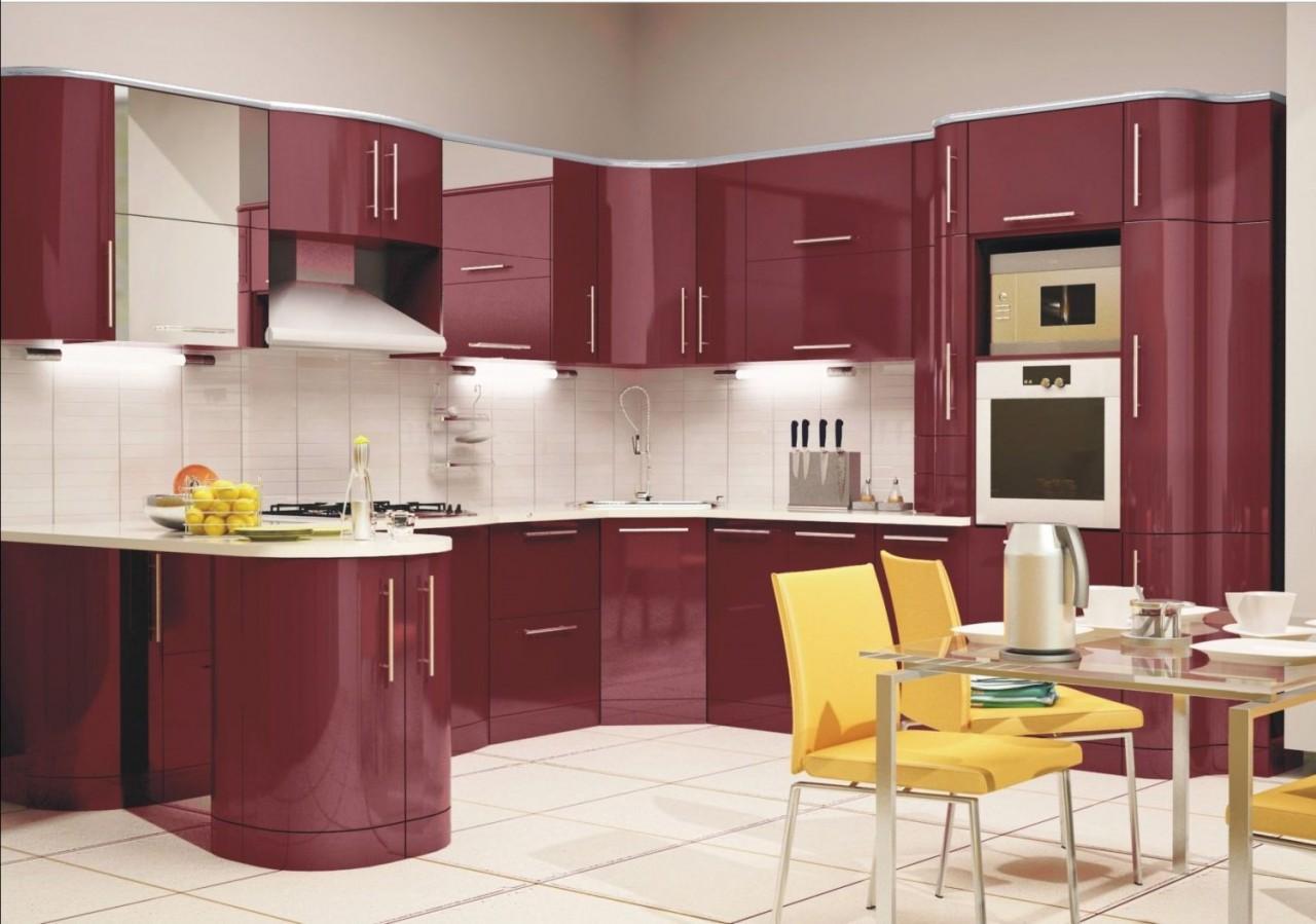 Дизайн кухни вишневого цвета фото