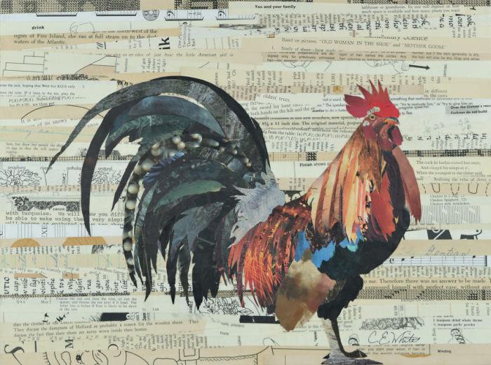 Птица с пушистым хвостом создана из идеально подобранных по цвету кусочков бумаги.
