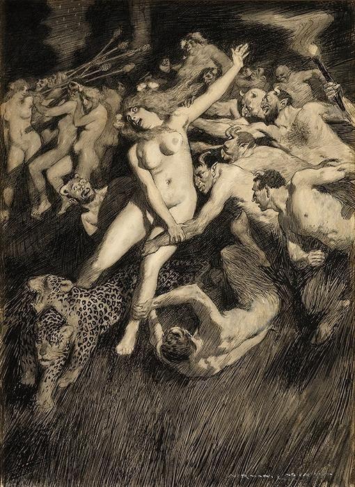 Прелестные нимфы, козлоногие обольстители и демоны в картинах Нормана Линдсея 39