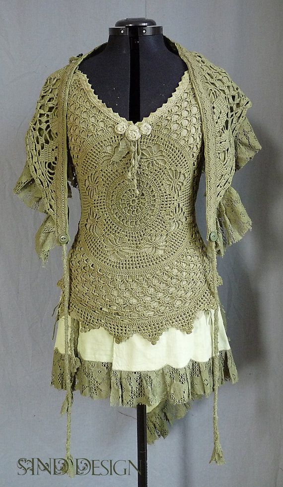 BOHO DOILY TOP lace elven pixie fairy summer halter by SINDdesign