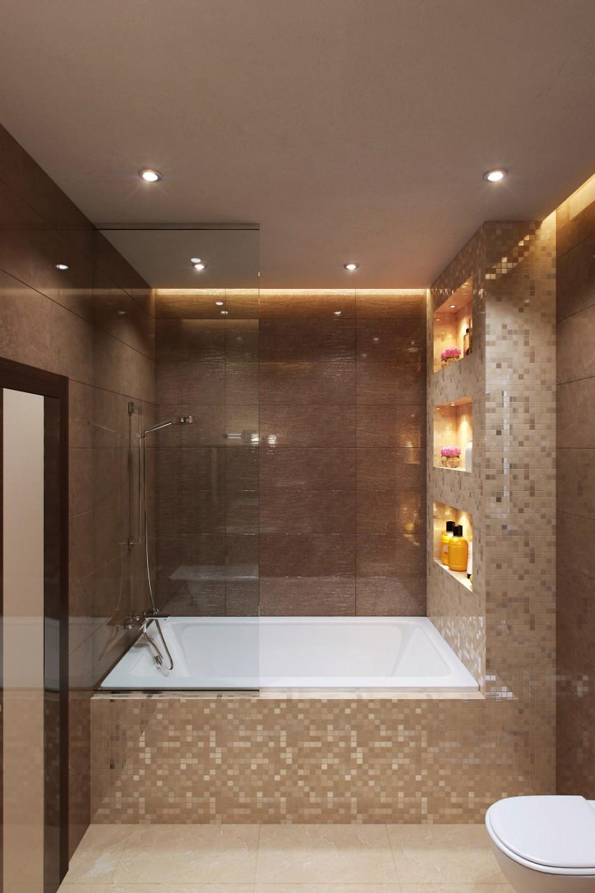 коричневая плитка мозаика в ванной комнате