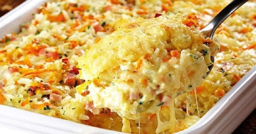 Запеканка из риса с ветчиной и сыром: сытное блюдо на скорую руку