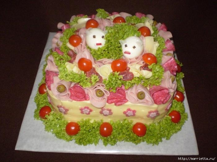 Соленый закусочный торт. Идеи оформления к ПАСХЕ (43) (700x525, 265Kb)