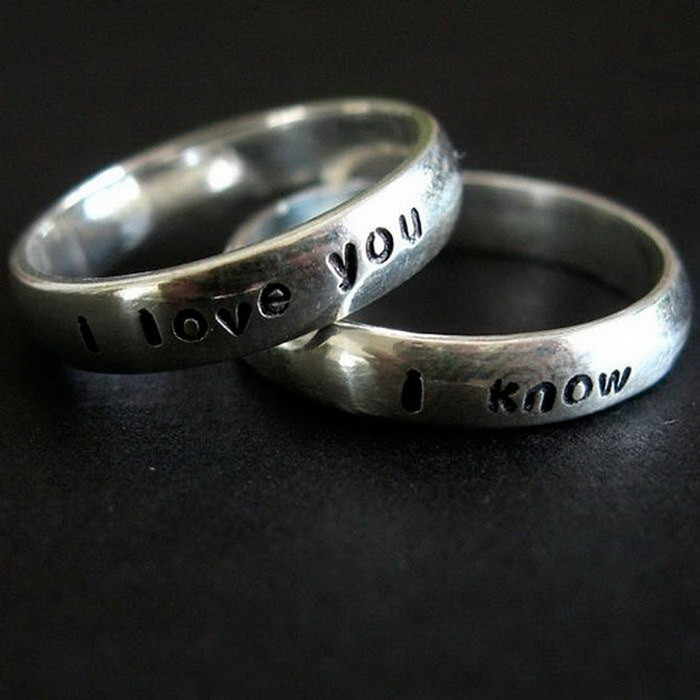 Кольца с гравировками: «Я тебя люблю» и «Я знаю» диза, кольцо, креатив