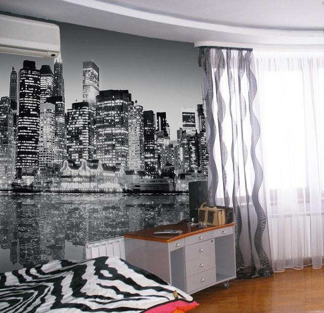 интерьер с черно белыми обоями. фото