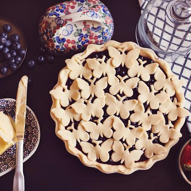 """Черничный пирог """"Поле бабочек"""" выпечка, красивая еда, кулинария, пироги"""