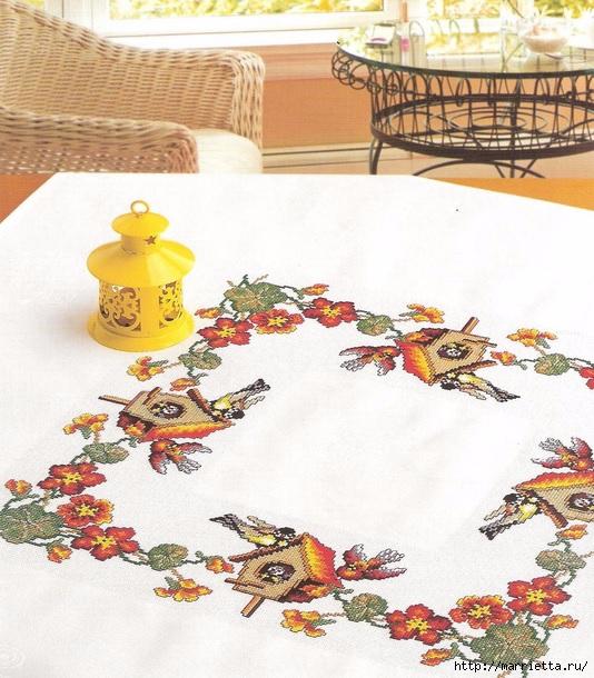 Птички на скатерти. Схемы вышивки крестом (1) (534x610, 252Kb)