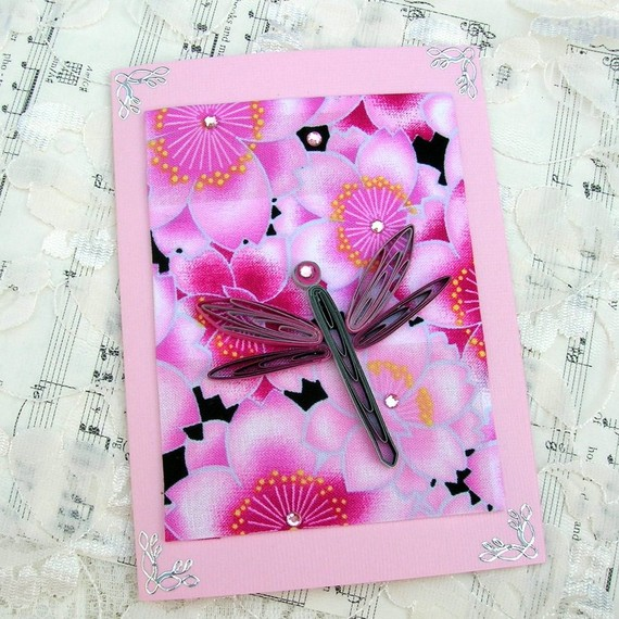 Paper Quilled SILVER and FUCHSIA DRAGONFLY on Fuchsia Pink Floral Fabric Handmade Greeting Card by Enchanted Quilling on Etsy