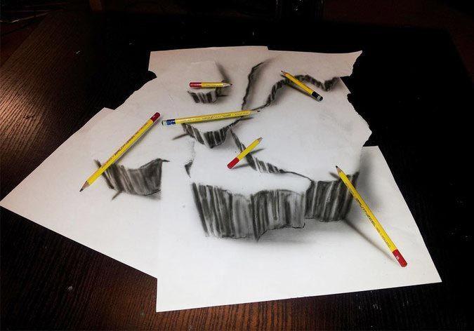 Удивительные трехмерные иллюзии, нарисованные на бумаге простым карандашом карандаш, рисунок