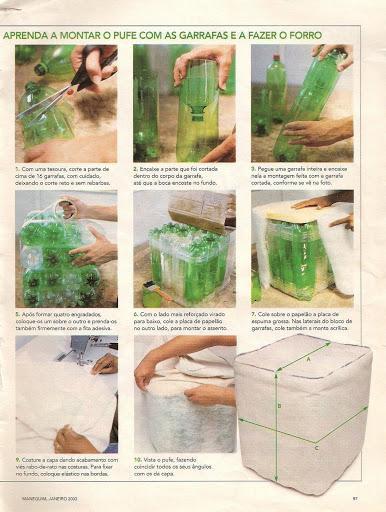 Пуфы из пластиковых бутылок инструкция