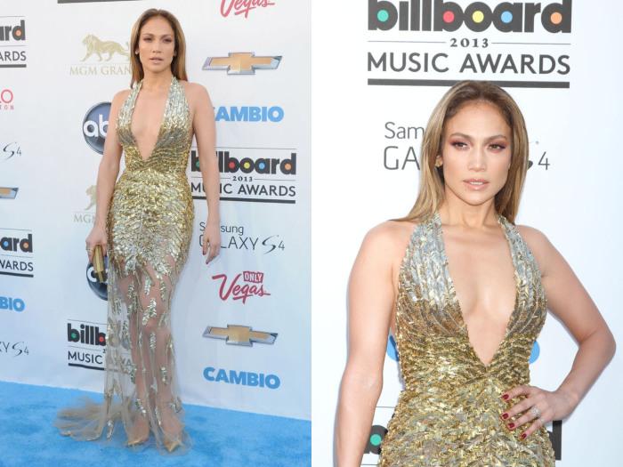 Полупрозрачное платье с глубоким декольте от Зухаира Мурада для церемонии вручения музыкальных наград Billboard Music Awards в 2013 году.
