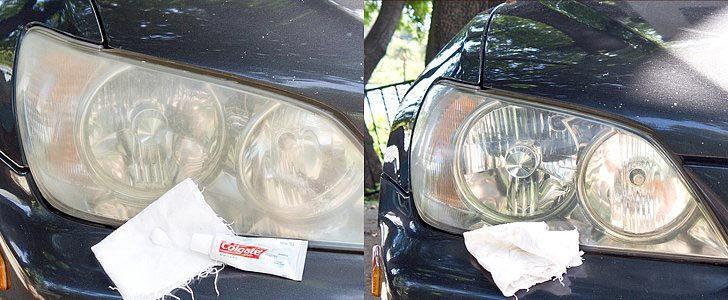 Используйте зубную пасту, чтобы очистить фары авто, интересно, полезные вещи
