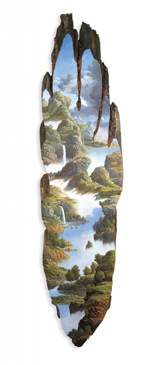 Потрясающие пейзажи на фрагментах поваленных деревьев дерево, пейзаж, художница