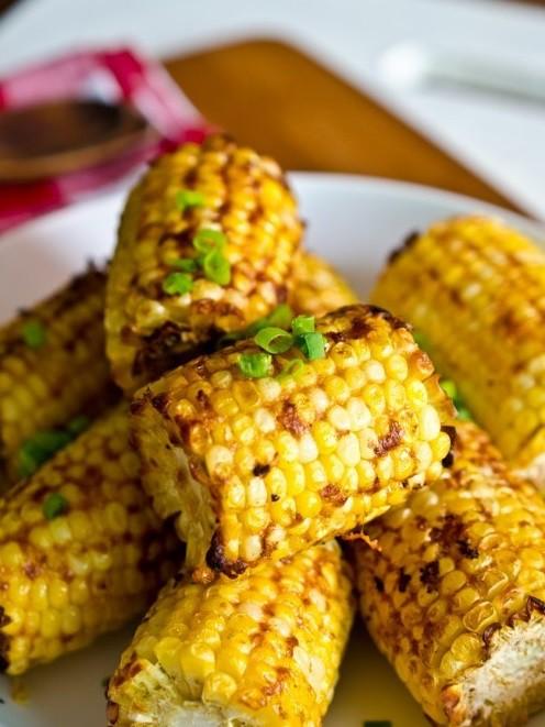 Кукуруза-гриль с чесноком и зеленым луком вкусно, кукуруза, рецепт