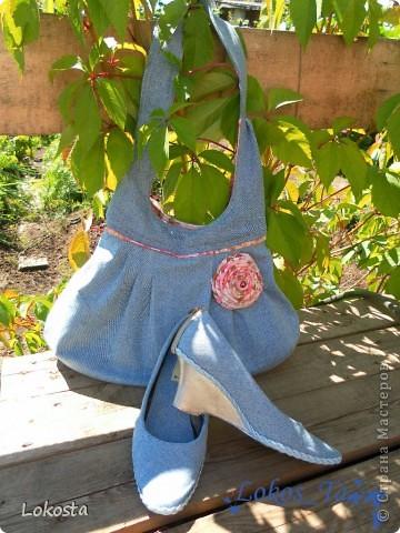 Гардероб Мастер-класс Поделка изделие Шитьё Джинсовая сумка или как я реанимировала туфли  Ткань