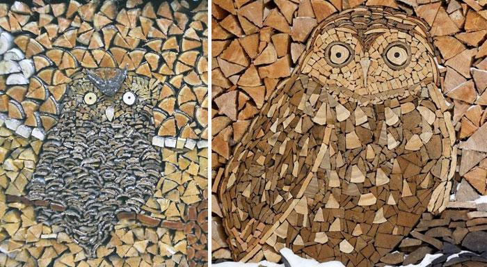 Совы, сделанные из дров.