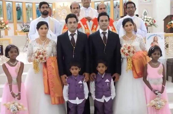 Пара близнецов поженила пару близнецов на паре близнецов