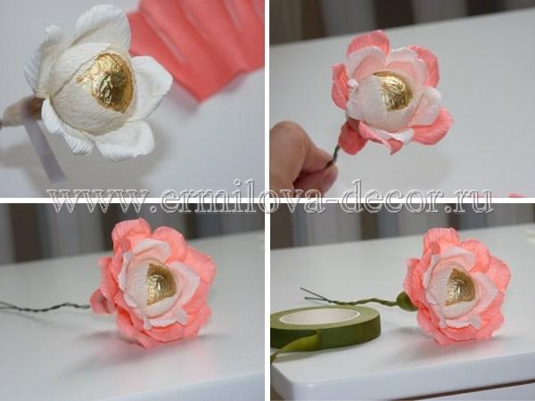 Цветы из гофрированной бумаги с конфетой своими руками