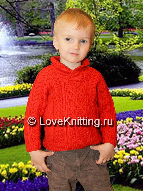 Пуловер с воротником